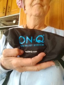 Linda holding pain system bag Apr 28 2017